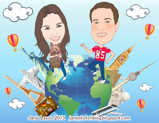 Caricatura en pareja recorriendo el mundo