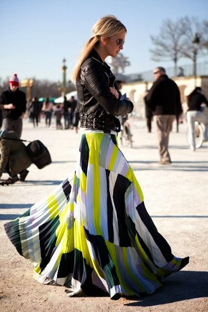 Black Jacket And Colorful Maxi Skirt