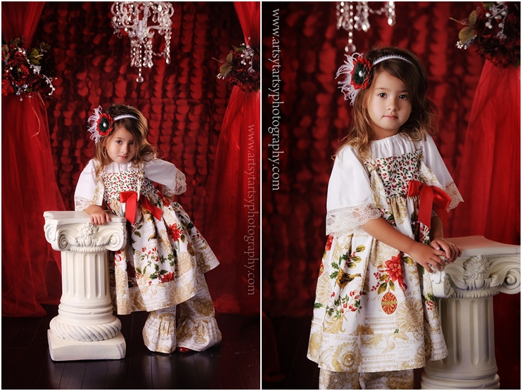 Christmas knot dress peasant top with lace edged sleeve ruffle