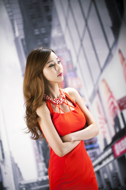 5 Seo Jin Ah in Orange Mini Dress -Very cute asian girl - girlcute4u.blogspot.com