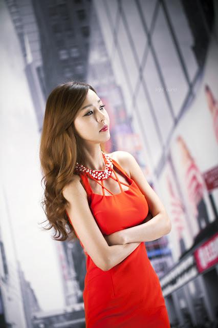 5 Seo Jin Ah in Orange Mini Dress -Very cute asian girl - girlcute4u.blogspot.com