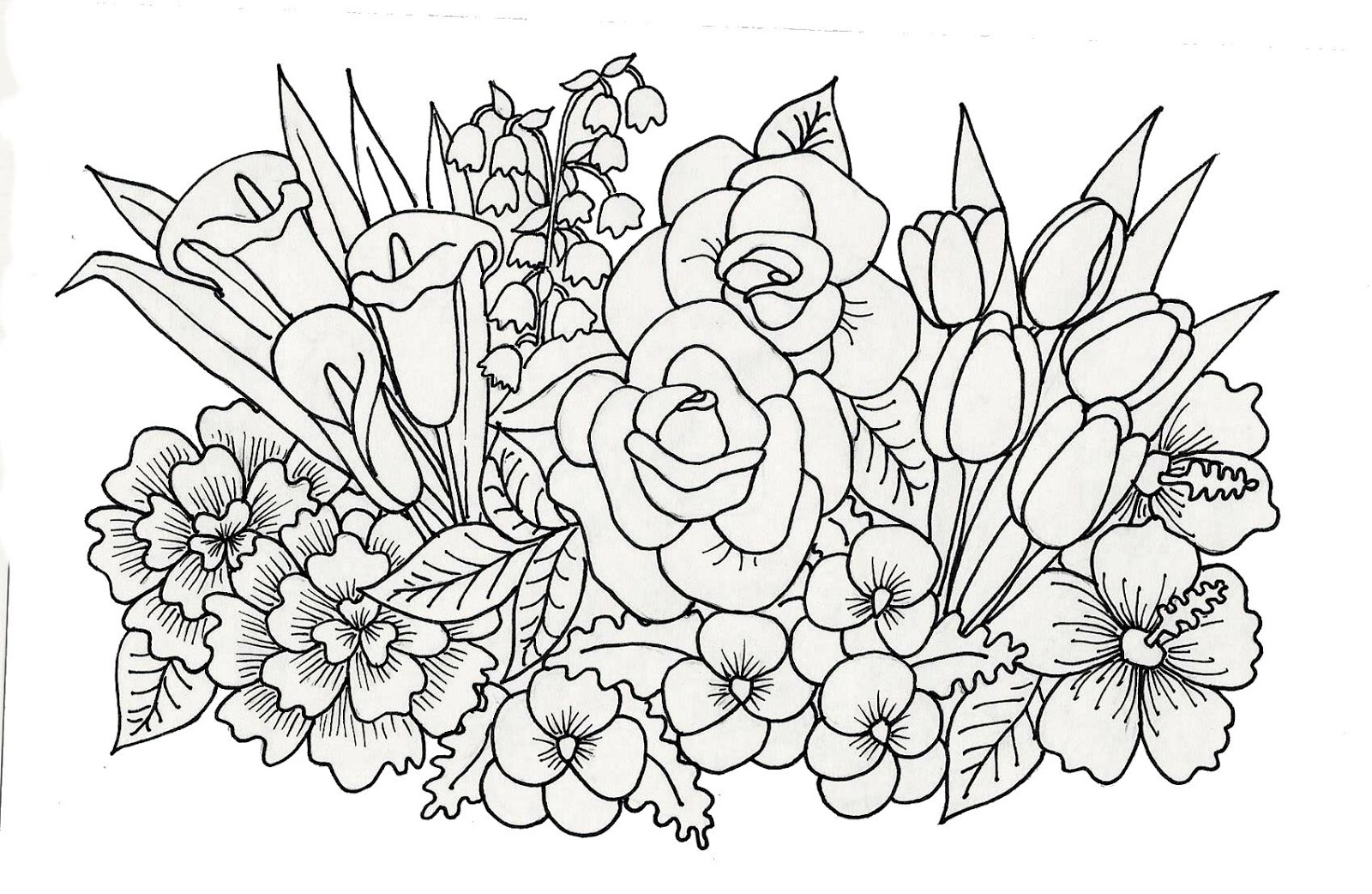 Printable coloring pages to print images of flowers for May coloring pages printable