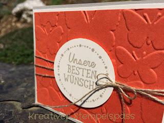 Ein kleiner Gruß, Prägeform Schmetterlingsschwarm, Kreisstanze, Karte,