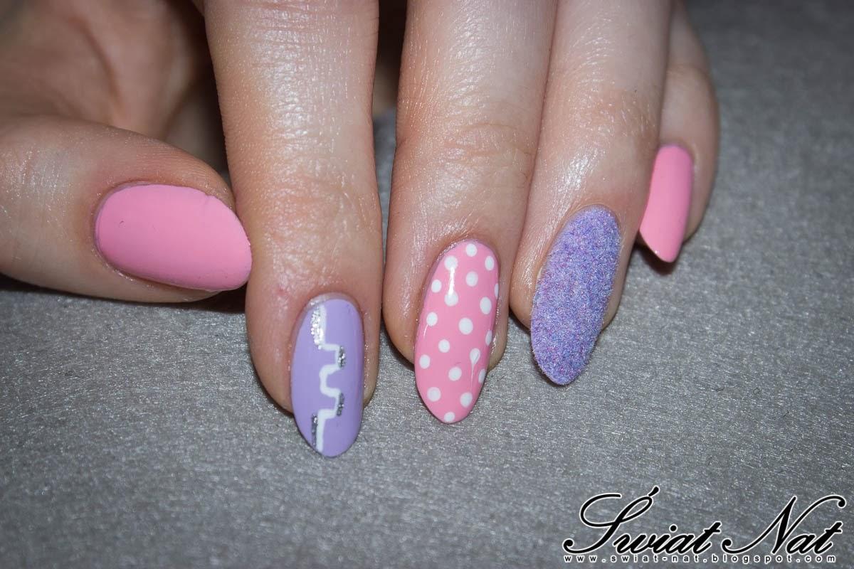 fioletowy, pink, różowy, mani, manicure, nailart, dotted, kropki