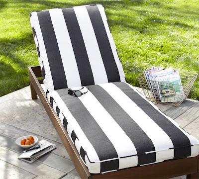 Pottery Barn Chaise Cushion Black And White Striped Sunbrella