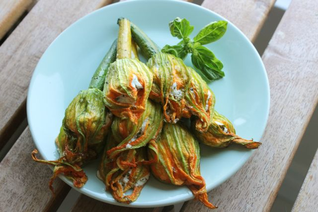 ... my favorite savory summer treats, Goat Cheese Stuffed Squash Blossoms