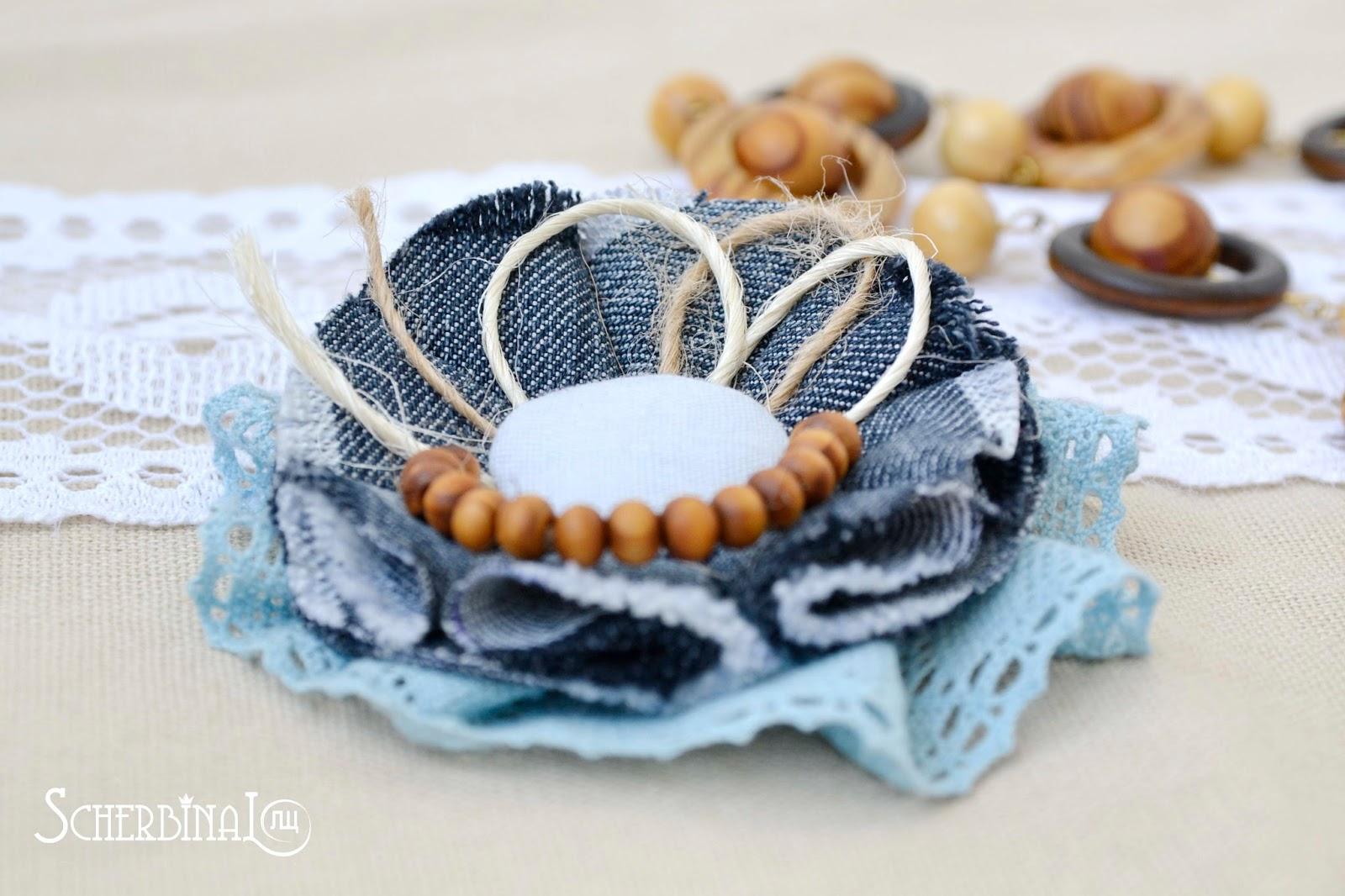 текстильная брошь, бохо стиль, джинсовый цветок