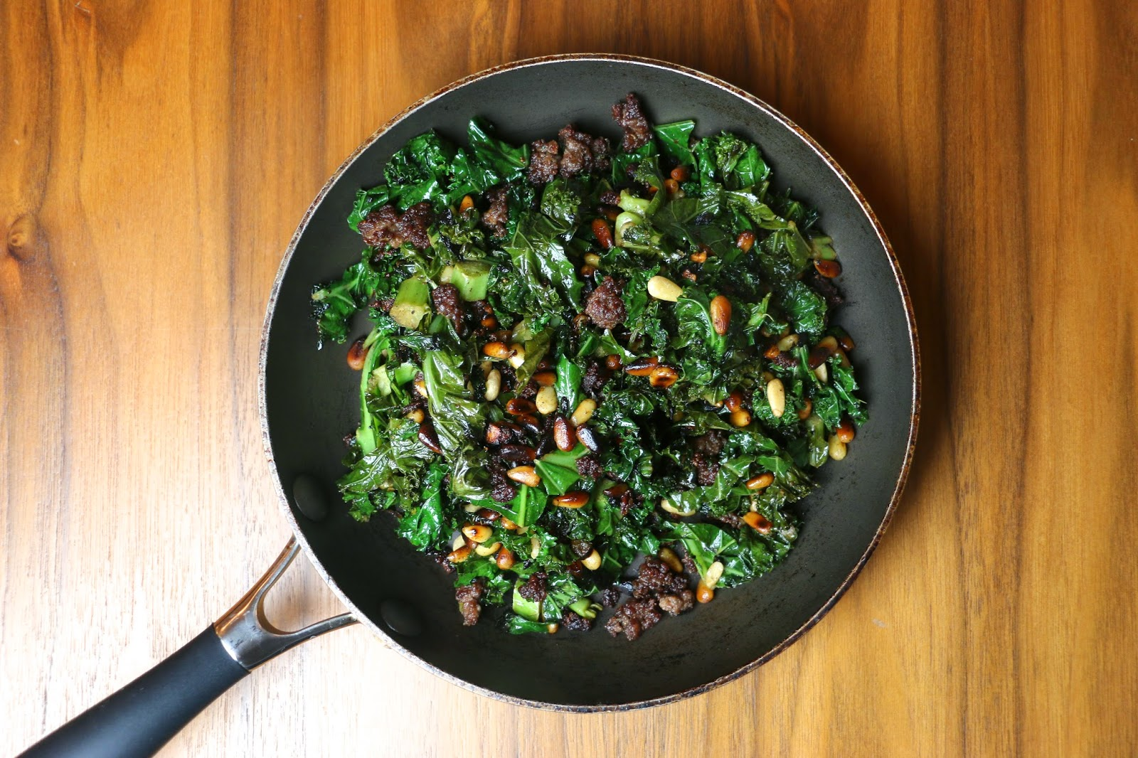All Spice Minced Beef and Kale Hash