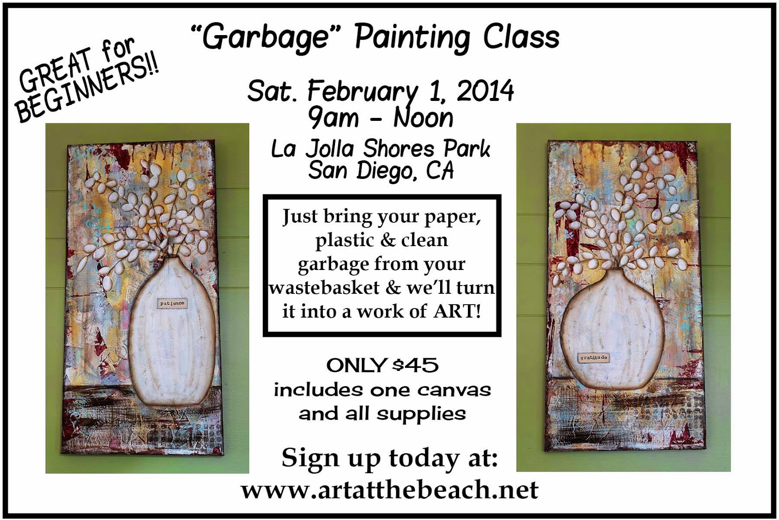 Garbage Painting Class, Beginner's Mixed Media Acrylics, Taught by Sue Allemand, www.artatthebeach.net