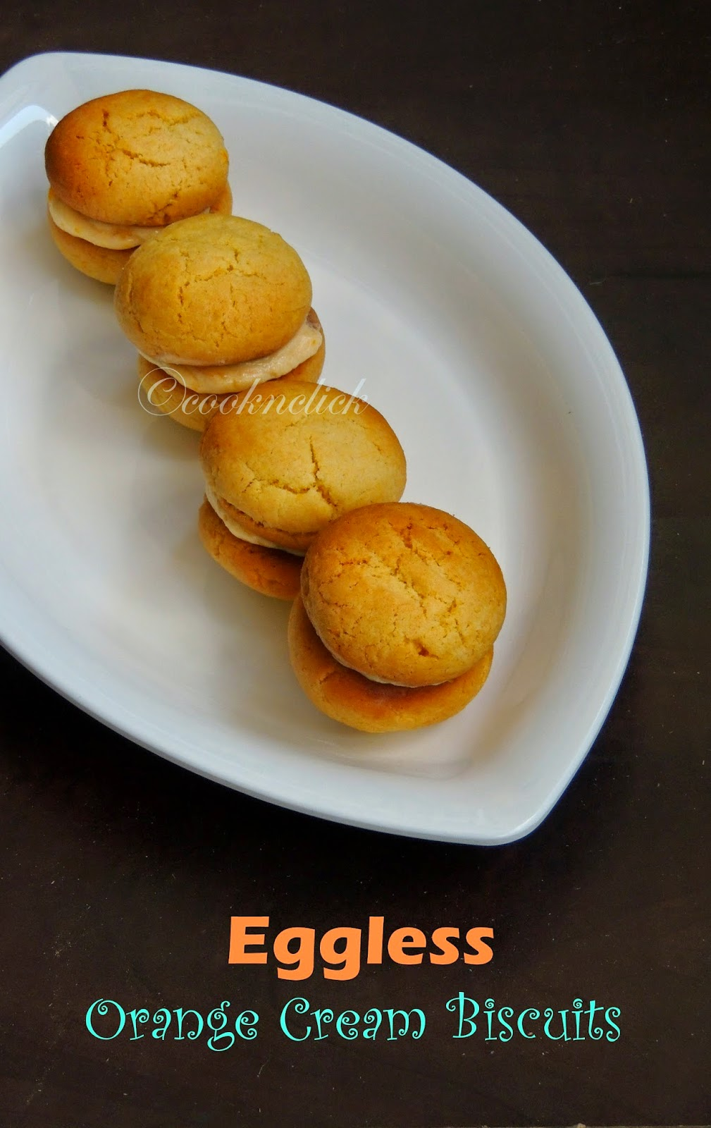 Biscuits with orange cream, Eggless orange cream biscuits
