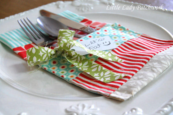 Little lady patchwork christmas utensil holder a