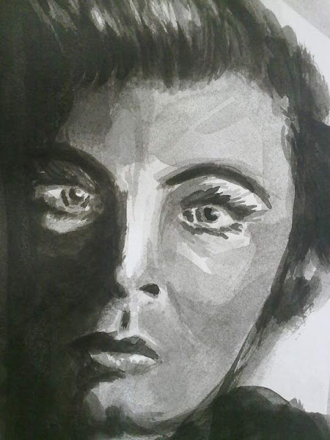 rostro de mujer en tinta china