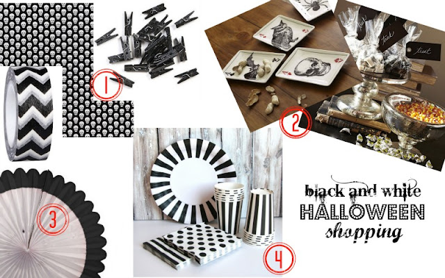 black and white Halloween party supplies