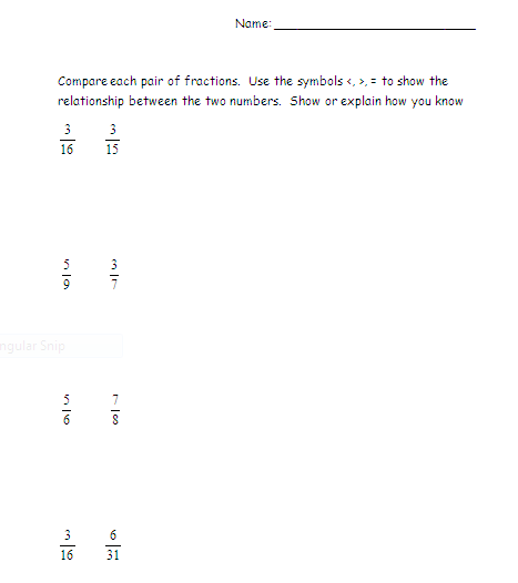 math worksheet : the elementary math maniac comparing fractions with fourth and  : Compare Fraction Worksheet