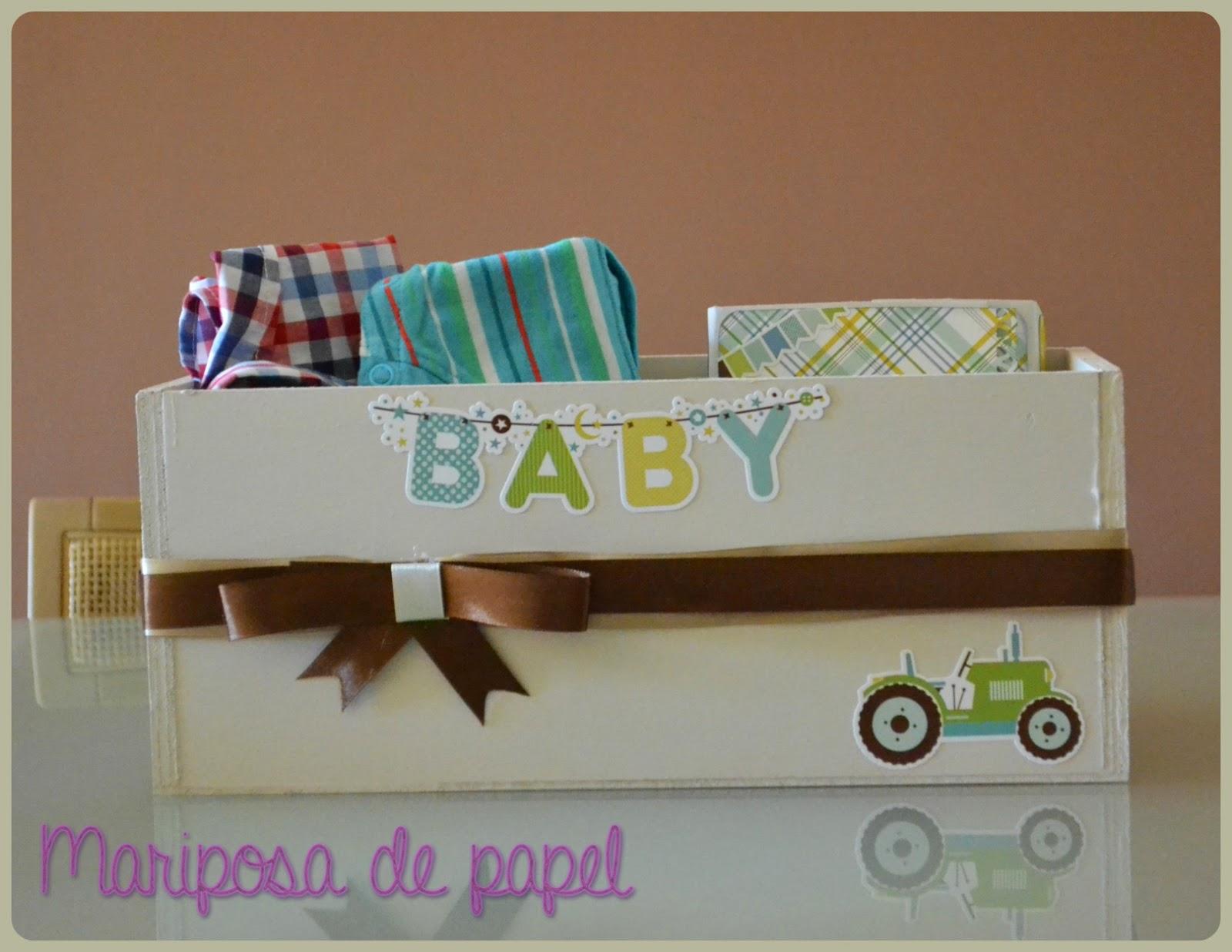 Mariposa de papel caja regalo para beb - Caja decorada con fotos ...