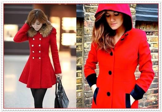 Rote Mäntel für Damen 2015