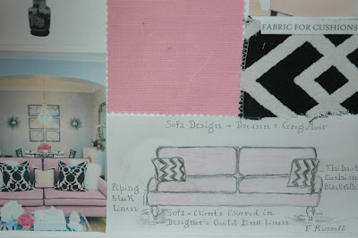 Beautiful Interiors and 18th Century Style  Pink Sofa with Black