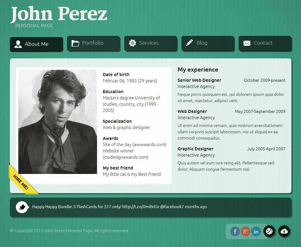 JP - Responsive JS Animated vCard Wordpress Theme