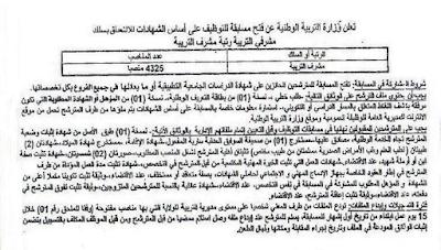 اعلان توظيف مشرفي التربية أكتوبر نوفمبر 2015