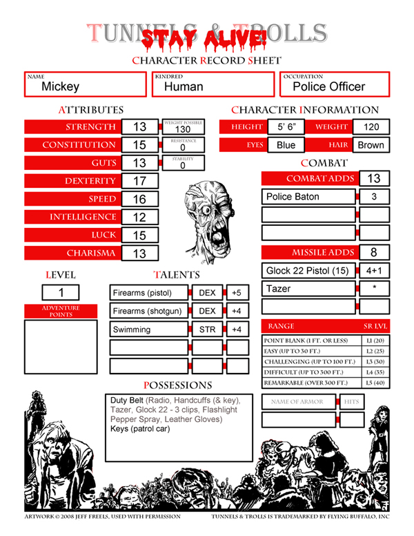 The Delving Dwarf New Stay Alive Character Sheet