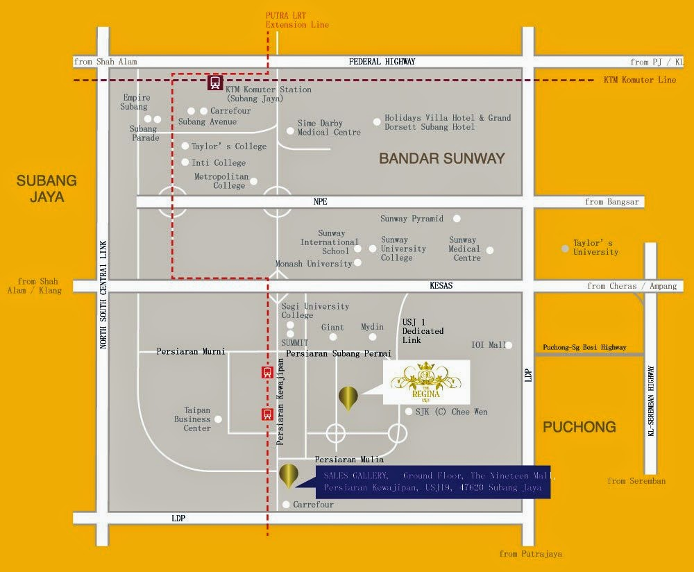 Regina  USJ  Eric Soon Properties - Usj 1 location map