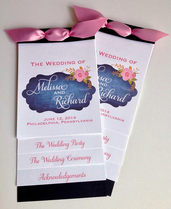 Layered Wedding Programs - Chalkboard Floral Design | Designed By M.E. Stationery