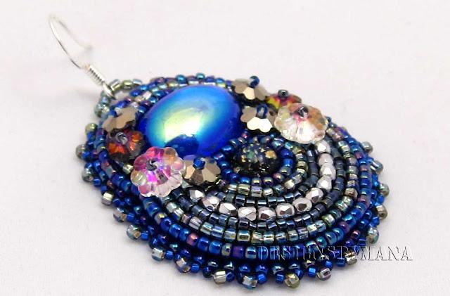 blue crystal earring