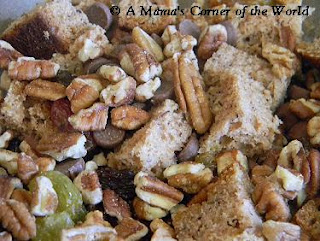 Banana bread, pecans, fancy raisins and chocolate for a banana bread pudding recipe