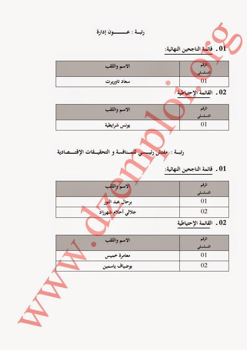 إعلان نتائج مسابقة توظيف بوزارة التجارة لسنة 2014 5.jpg