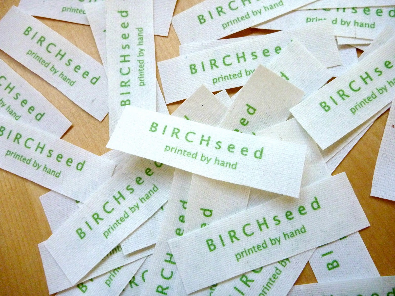B i r c h s e e d printed by hand tutorial how to for How to sew labels on clothes