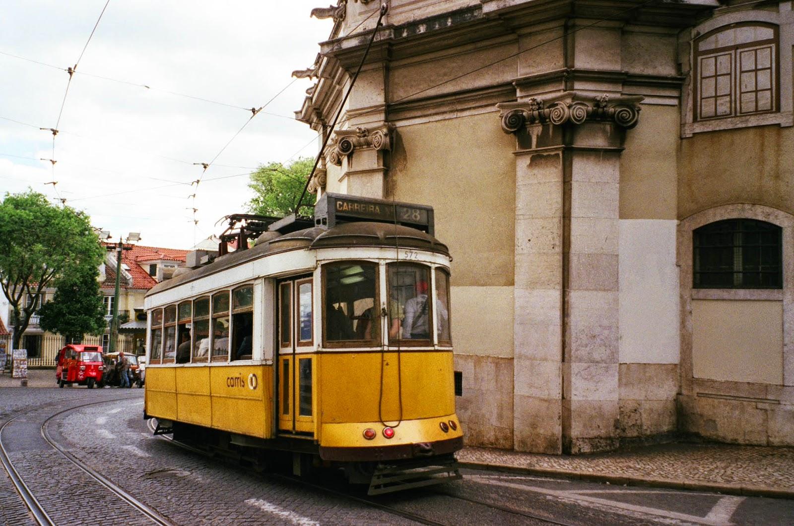 Yellow tram Lisbon Lisboa Portugal
