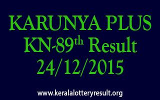 KARUNYA PLUS KN 89 Lottery Result 24-12-2015