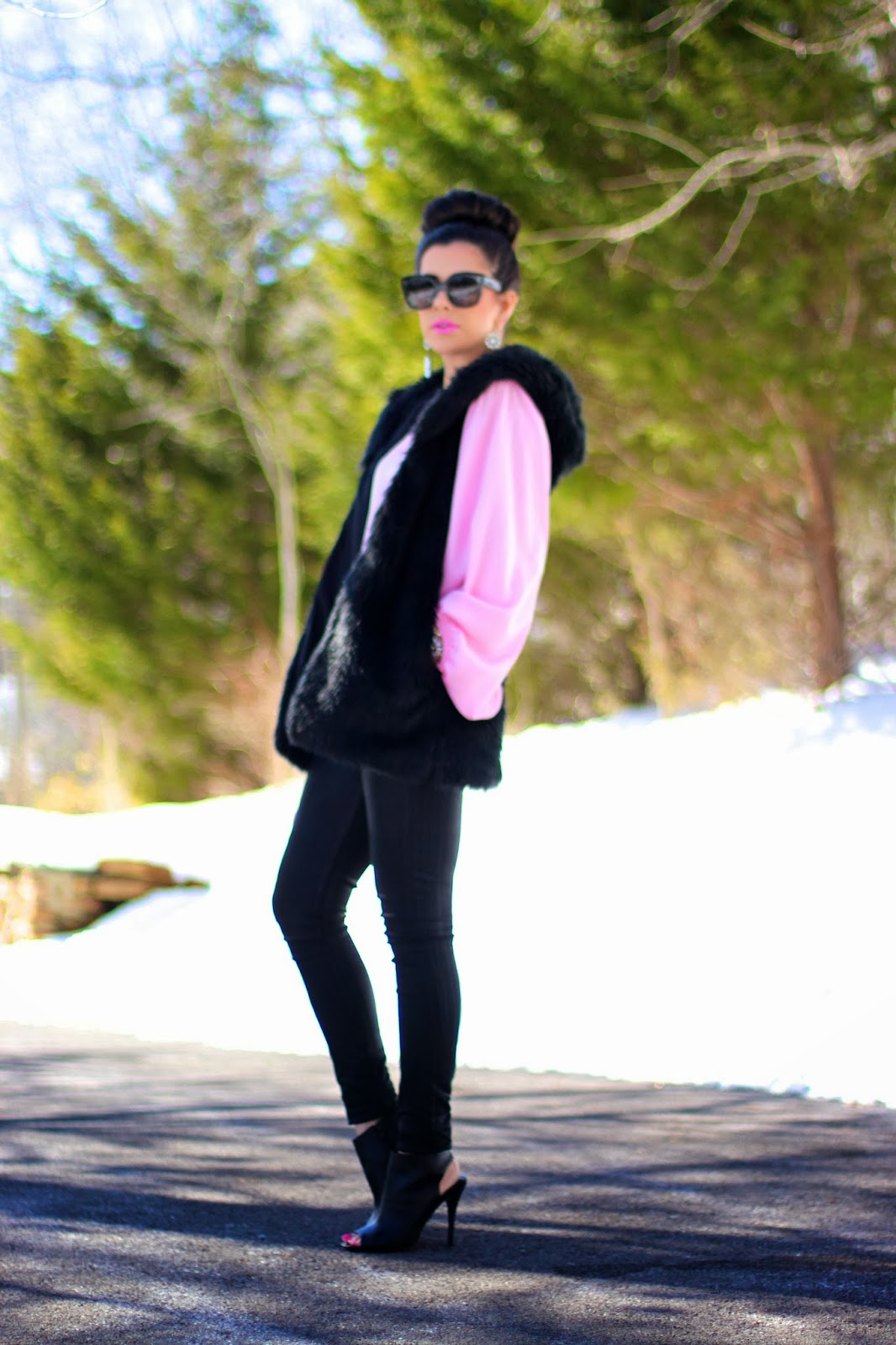 celine sunglasses, celine new audrey, faux fur vest, faux fur black vest, pink shirt, shop sosie, top knot, pink links, statement earrings, black quilted leather bag, siramara bracelet