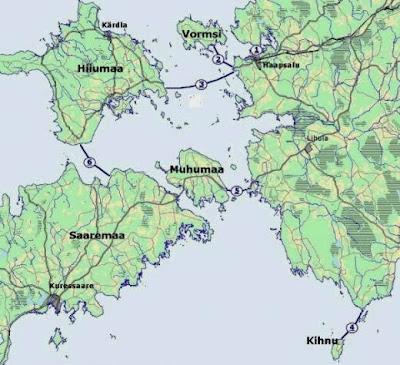 Estonie, carte des routes de glace