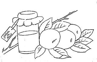 desenho pote de geleia de maça para pintar