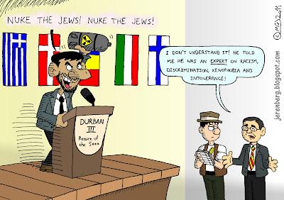 mahmoud ahmadinejad ban ki moon durban iii 3 nuke the jews iran racism discrimination xenophobia intolerance irony united nations