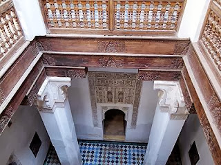 Looking down the hallway of Ben Youssef Madrasa
