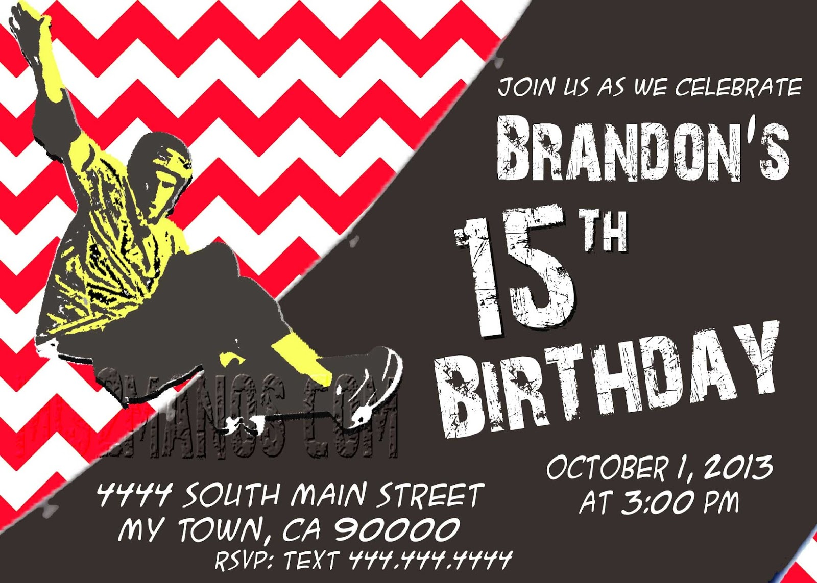 Mis 2 manos made by my hands skateboarding teen birthday party skateboarding teen birthday party chevron birthday invitation boy party invitation printable filmwisefo Images