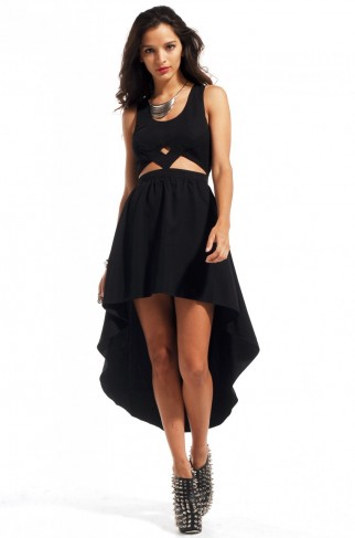 black high low casual dress
