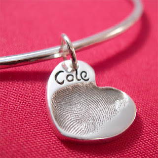 Silver Bangle with Fingerprint Heart Dangle Charm