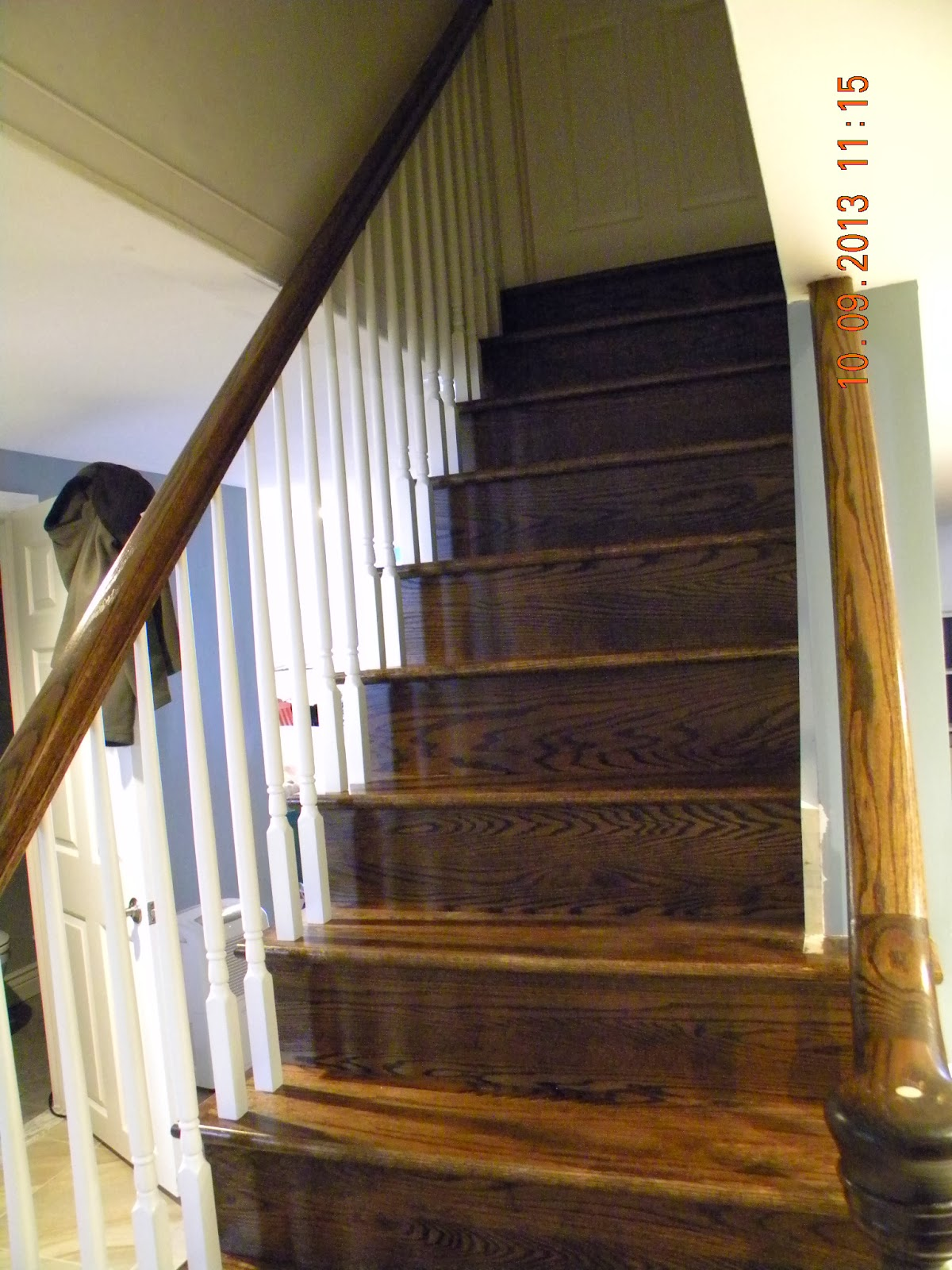 wood stairs and rails and iron balusters wood staircase. Black Bedroom Furniture Sets. Home Design Ideas