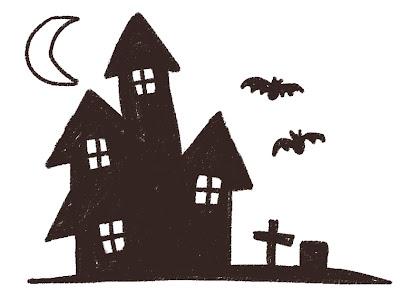 ハロウィンのお化け屋敷のイラスト 線画