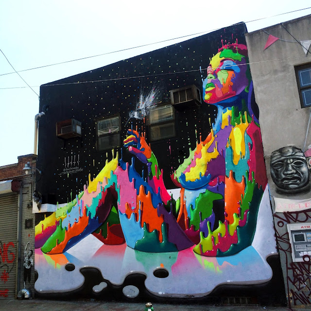 Yesterday in New York City, Dasic Fernandez was also painting for the Bushwick Collective Annual Block Party in Brooklyn.