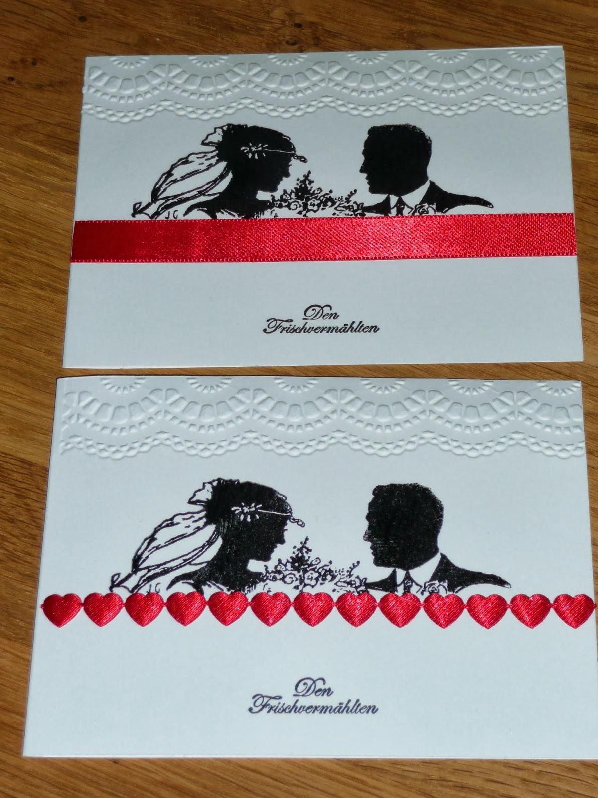 Bastelei Hochzeitskarten Weiss Rot Schwarz