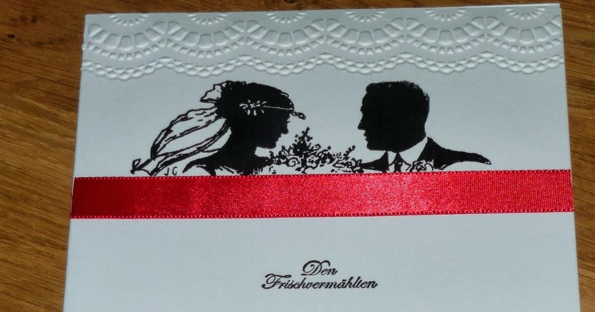 Bastelei: Hochzeitskarten weiß, rot, schwarz