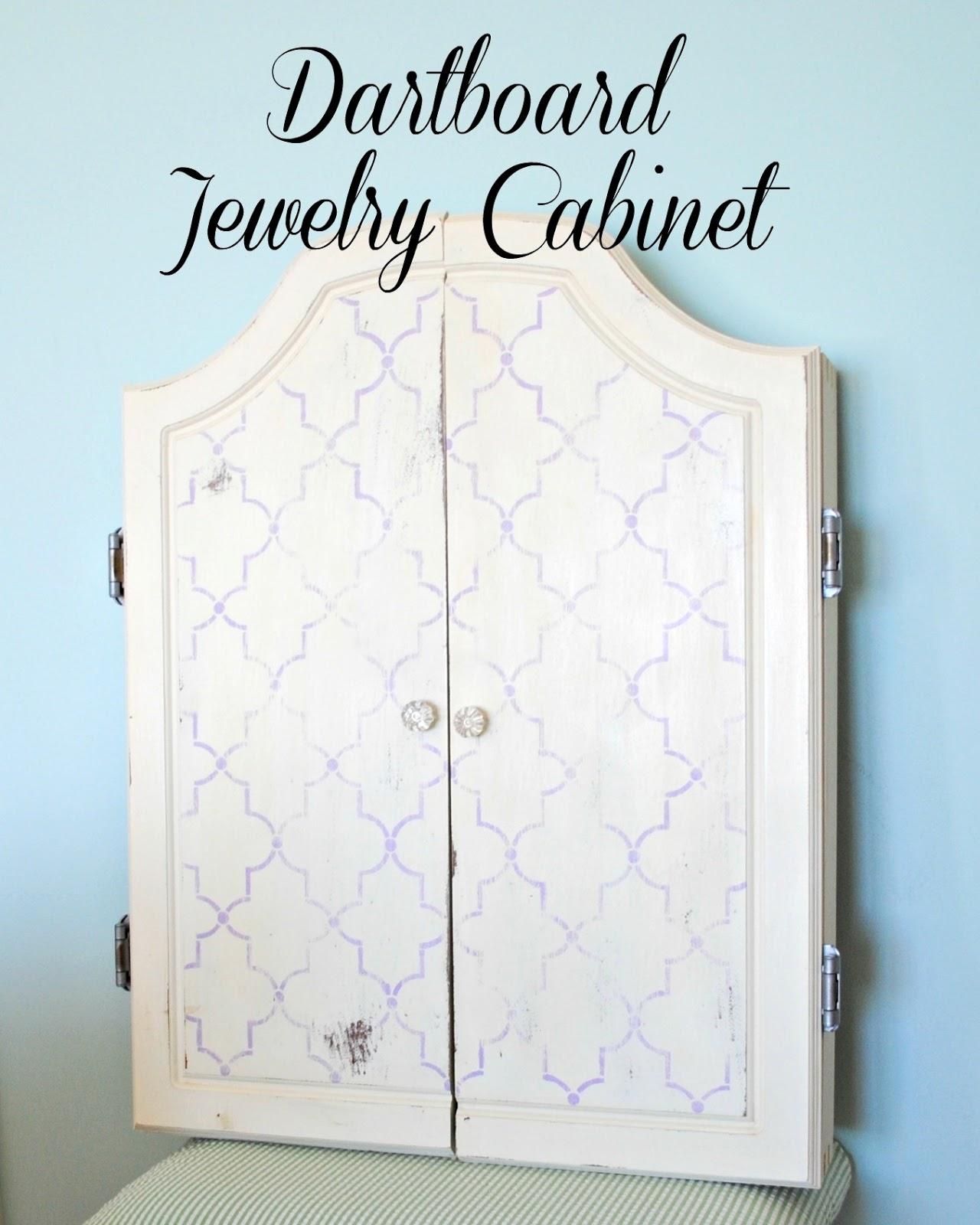 Captivating For My Final Project, I Transformed A Garage Sale Dartboard Cabinet Into A  Jewelry Storage Cabinet For My Daughtersu0027 Closet.