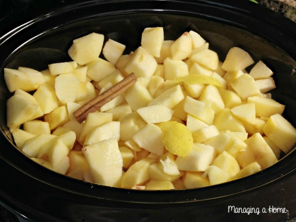 Apples, Cinnamon Stick and Lemon in Pot for Crock Pot Applesauce | Managing a Home