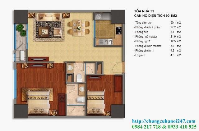 Thiết kế chi tiết căn hộ toà T1 chung cư Times City diện tích 90.1 m2