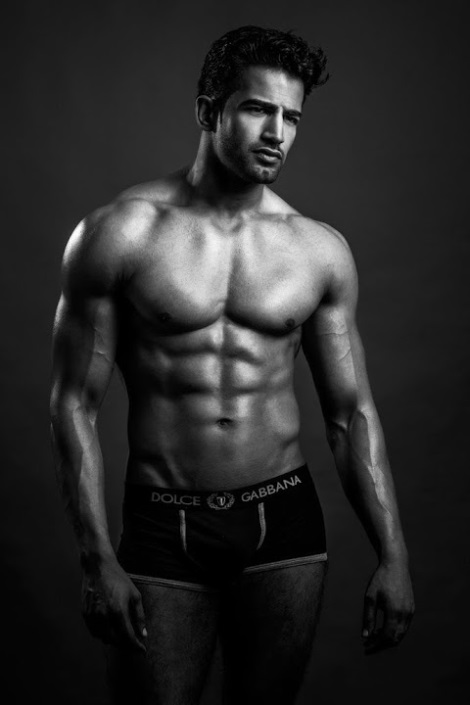 Upen Patel in Dolce & Gabbana Trunks