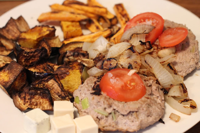Homemade turkey burgers, tomatoes, mushrooms, onions, sweet potato fries, roasted veg & laughing cow cheese